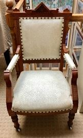 Antique Victorian Upholstered Chair on Casters
