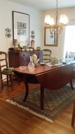 LARGE (7 ft. x 5 ft.) ANTIQUE FRENCH CHERRY WOOD DROP LEAF DINING TABLE....PAIR OF ANTIQUE LADDER BACK COUNTRY FRENCH CHAIRS with RUSH SEATS...WATERFORD DECANTERS