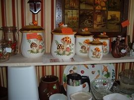 Mushroom canister set with cookie jar from Sears.