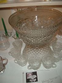 Very nice old punch bowl set with box.