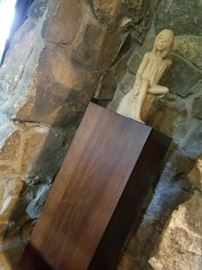 Statue (Austin Prod) with tall wood pedestal