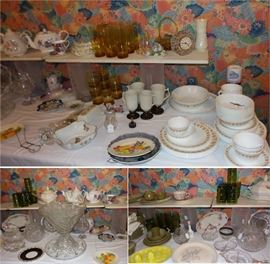 vintage to antique china, crystal, cut glass. Pyrex Lazy Dazy.  Huge cut glass punch set. vintage dishes