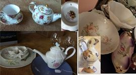 Tea cups, tea pots, tea sets.  serving items