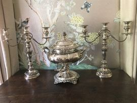 19th century  silver-plate hot water urn and pair candelabra