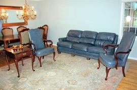 Extremely Nice Hancock & Moore Leather Sofa and Matching Leather Chairs