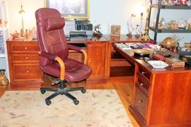 Stanley Desk with Leather Office Chairs