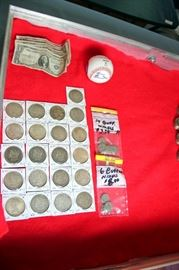 Morgan Dollars, Peace Dollars, Silver Certificates, Buffalo Nickels, Tommy Lasorda Signed Ball