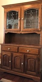 Vintage Hutch w Leaded Glass Doors