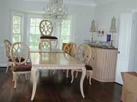French Provincial Dining Table, Chairs, & Buffet