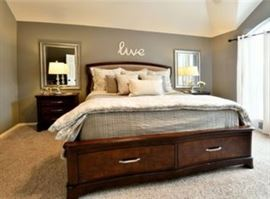 King Size Bed with High End Mattress and five piece Bedroom Furniture Set