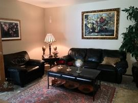 Nice Black Leather Sofa with Two Matching Chairs