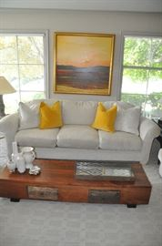 "Wonderful Chenille oyster colored Swaim sofa in pristine condition.  96""w x 30""h x 36""d."