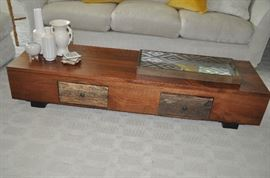 "Fantastic rustic low mahogany coffee table with two drawers.  67""w x 12""h x 20"" d."