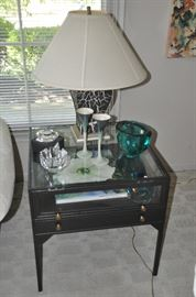 "Fantastic glass and black iron side/display table from Leon and Lulu. 24""w x 24""h x 24""d."