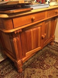 Pine kitchen chest with large butcher lock top. Would make a great kitchen island and work surface.