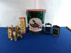 018 - 2 Metal tins, 2 Wrought Iron Match Safes & Nativity Set         https://ctbids.com/#!/description/share/35850
