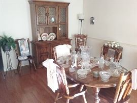 dining table and chairs, china hutch