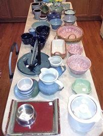 Henn spongeware, Redwing, Vermont Potters