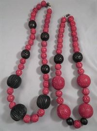 Fabulously HUGE vintage Chinese cinnabar bead necklaces