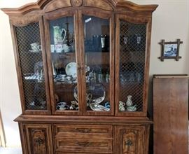 Great two piece china cabinet could also make a buffet or TV stand.