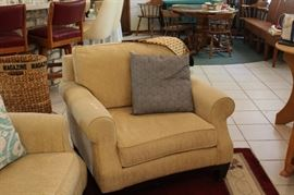 Overstuffed Matching beige upholstered chair
