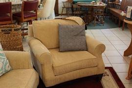 Overstuffed Matching beige upholstered chair