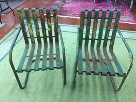 Pair of Vintage Iron Slat Garden Chairs