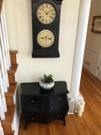Bombe Chest and Antique Wall Clock