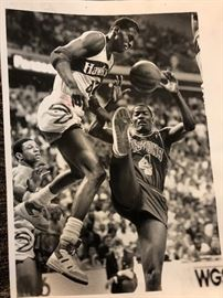 Black and white original  photo of Atlanta hawks and detroit pistons game in 1987. Kevin Willis and Joe Dumars