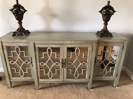 Silvered Mirrored Glass Credenza