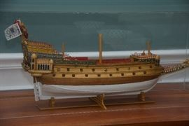 Hand made wooden barge model