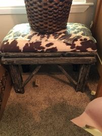 Rustic Stool with animal print top