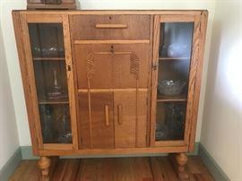 excellent condition antique cabinet/golden oak era