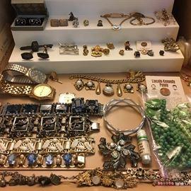 Costume jewelry, Seiko men's watch, Timex man's watch, tie tacks etc