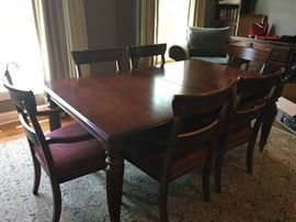 Ethan Allen table and 6 chairs - comes with 2 leaves and padded table top coverings