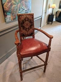 Century custom leather bar stool with brass bar and nail head finishing detail.  Total of 4 available.