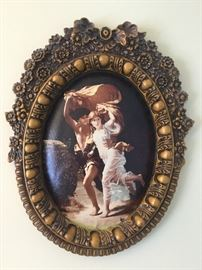 Adam & Eve artwork with ornate wood frame 21'' tall x 17'' wide