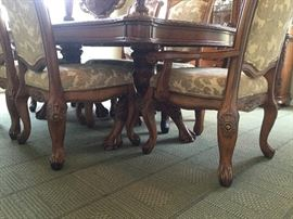 Greengrass Furniture Company.  Dining Table is 82'' Long without leaf insert X 44'' wide x 31'' High, one leaf extension measures at 15''.  China Cabinet Measures 71'' wide X 23''-24'' deep X 87'' high. Set Comes with Wood Table with claw feet comes with 4 side chairs and 2 captain chairs and china cabinet.  Traditional / Transitional Style