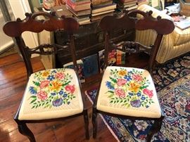 Hand embroidered matching chairs