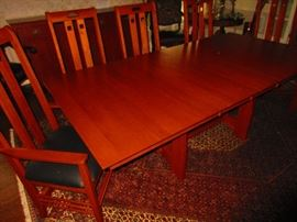Stickley table & six dining room chairs