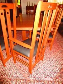 Detail of Stickley dining room table & chairs