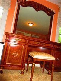 Ducale mirror, vanity table & stool