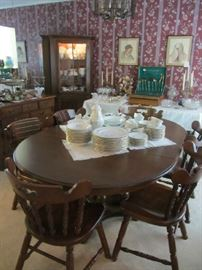 Tell City Maple Dining Room Table with 6 Chairs and 2 leaves - Johann Haviland China - much more