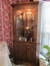2nd Tell City Corner Cabinet w/ Christofle Silverplate, more