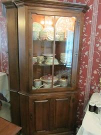 Tell City Maple Corner Cabinet w/ Oriental Dishes