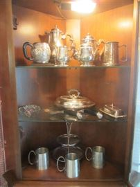 Christofle France Silverplate Coffee / Tea Set, Malaysian Serving Pieces, more
