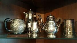Christofle France Silverplate Coffee / Tea Set - British Malaya Heavily Carved Mug - Silverplate over Copper Tankard