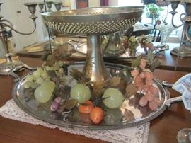 Alabaster Fruit - Brass inlaid Compote - Christofle France Silverplate Tray