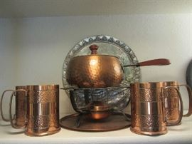 Hammered Copper Fondue and Mugs