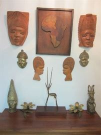 Carved Masks from West and South Africa - Bronze / Brass Figures